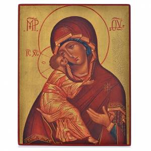 Russian icon, Our Lady of Vladimir with red mantle 14x11cm s1