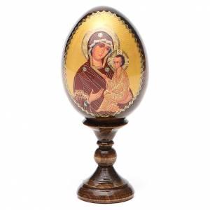 Handgemalte Russische Eier: Russische Ei-Ikone Gottesmutter Tichvinskaja 13cm Decoupage
