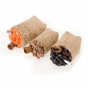 Neapolitanische Krippe: Sack Jute mit Essen aus gebranntem Ton für Krippe