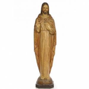 Hand painted wooden statues: Sacred Heart of Jesus, 100cm in wood paste, chiselled effect dec