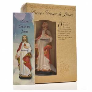 Sacred Heart of Jesus 12cm with image and FRENCH PRAYER s3
