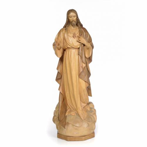 Sacred Heart of Jesus 80cm, wood with burnished decoration s1