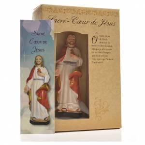 Sacro Cuore di Gesù 12 cm con immaginetta PREGHIERA FRANCESE s3