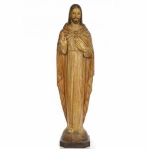 Imágenes de Madera Pintada: Sagrado Corazón de Jesús 100cm dec. Efecto esculpi