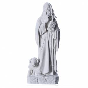 Reconstituted marble religious statues: Saint Anthony the Abbot in reconstituted Carrara marble, 35 cm