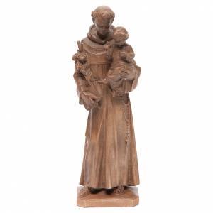 Natural wood statues and figures: Saint Anthony with baby statue in patinated Valgardena wood