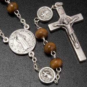 St. Benedict rosary, brown coconut-effect round beads s2