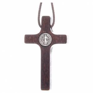 Saint Benedict crosses: Saint Benedict cross pendant walnut wood effect