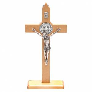 Standing crucifixes: Saint Benedict cross table and wall natural wood