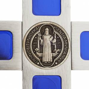Saint Benedict cross with blue enamel and base s5
