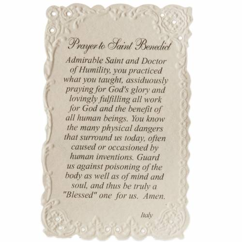 Saint Benedict holy card with prayer in ENGLISH s2