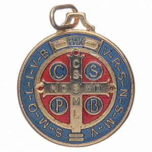 Saint Benedict medal in gold plated zamak and enamel s2