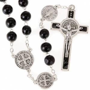 Saint Benedict rosary in coconut wood s1