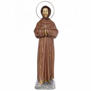 Hand painted wooden statues: Saint Francis of Assisi 80cm wood paste, burnished decoration
