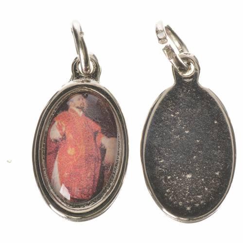 Saint Ignatius of Loyola medal in silver metal, 1.5cm 1