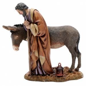 Nativity Scene by Moranduzzo: Saint Joseph statue with donkey in resin  20 cm Moranduzzo