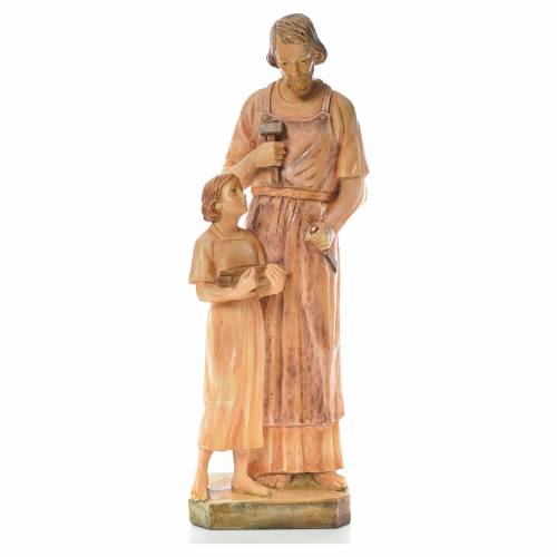 Saint Joseph the carpenter with baby statue in painted wood H110 s1