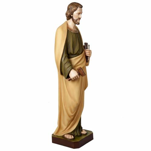 Saint Joseph the Worker statue, 100 cm in painted marble dust s5