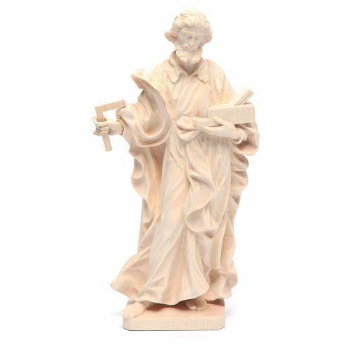 Saint Joseph the worker statue in natural Valgardena wood s1