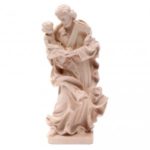 Natural wood statues and figures: Saint Joseph with baby statue in natural wood