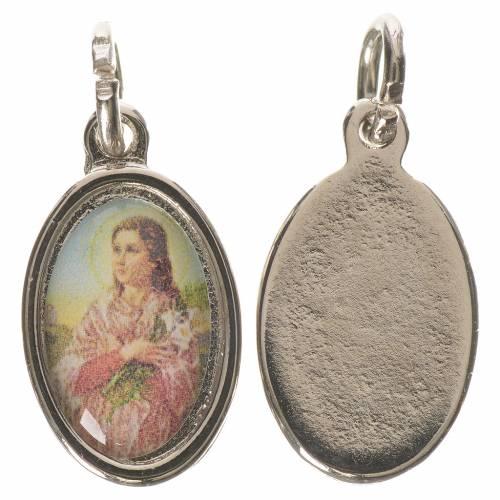 Saint Maria Goretti medal in silver metal, 1.5cm s1