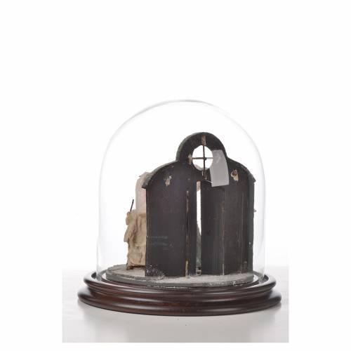 Sainte Famille terre cuite style arable 20x20cm cloche verre s6