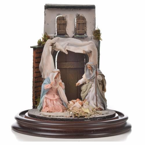 Sainte Famille terre cuite style arable 20x30cm cloche verre s2