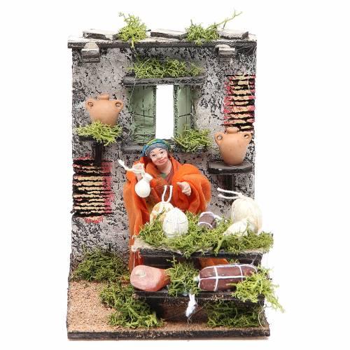 Salami seller animated figurine for Neapolitan Nativity, 10cm s1