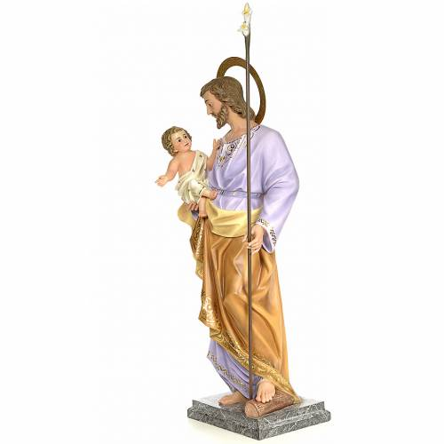 San Giuseppe con bambino 120 cm pasta di legno dec. elegante s3