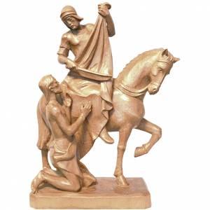 San Martino a cavallo con mendicante legno Valgardena patinato s1