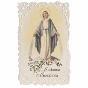 Santino Madonna Miracolosa con preghiera s1