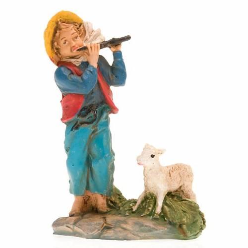 Berger avec flûte et brebis 10 cm s3