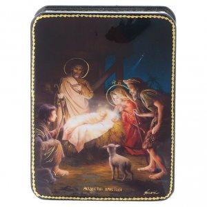 Scatola russa cartapesta Nascita di Gesù Cristo Fedoskino style 11x8 s1
