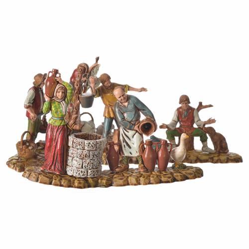 Scene with 3 shepherds, nativity figurines, 10cm Moranduzzo s1