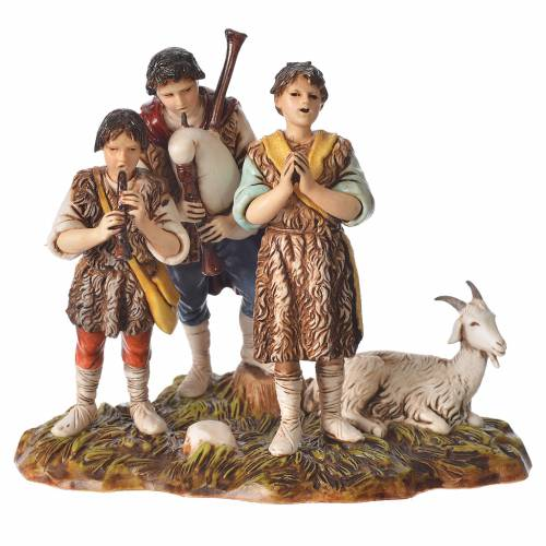 Scene with shepherds with goat, nativity figurines, 10cm Moranduzzo s1