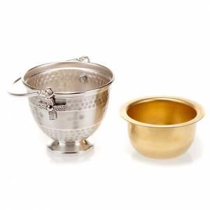 Secchiello per acqua santa ottone sbalzato con croce s2