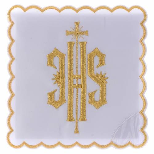Service linge autel coton symbole IHS brodé or s1