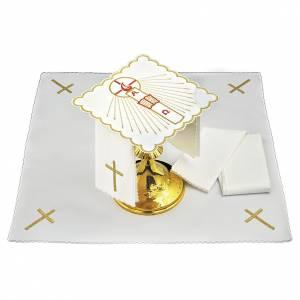 Servizio da altare cotone candela Alfa Omega fiamma rossa s1