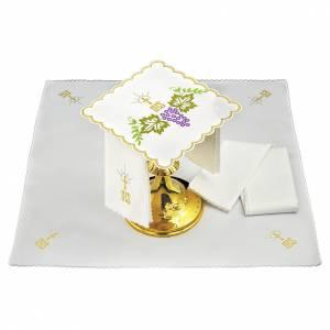 Servizio da altare cotone rami verdi foglie uva simbolo JHS s1