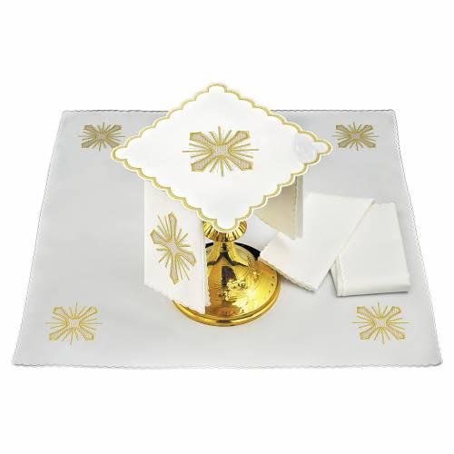 Servizio da altare lino croce raggi ricamo dorato s1
