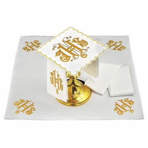Servizio da altare lino JHS ricamato decorato oro s1