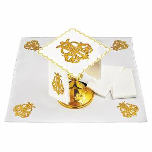 Set linge autel coton symbole IHS or foncé brodé s1