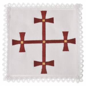 Set linge d'autel 100% lin croix bordeaux s1