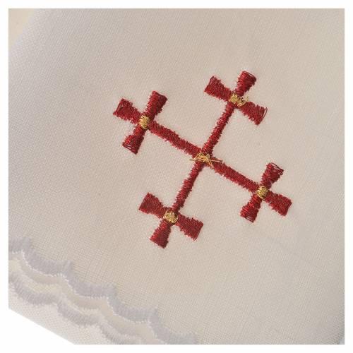 Set linge d'autel 100% lin croix bordeaux s3