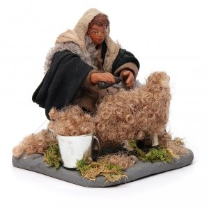Shearer with sheep 10 cm for nativity set s3
