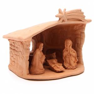 Shed with Nativity in terracotta 15x13x11cm s3