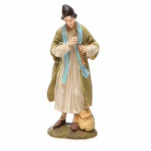 Nativity Scene figurines: Shepherd with fife in painted resin 10cm affordable Landi Collection