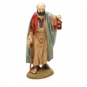 Nativity Scene figurines: Shepherd with lantern in painted resin 10cm Landi Collection