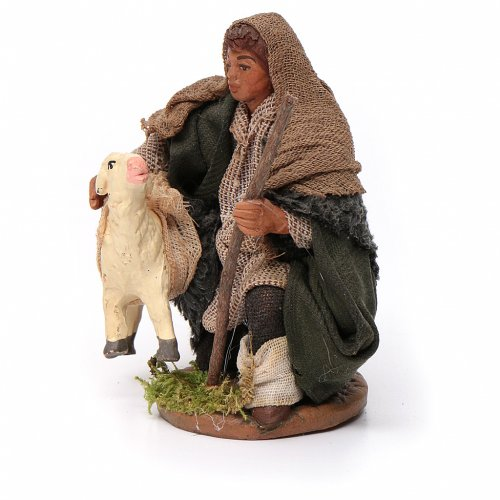 Shepherd with small sheep 10 for nativity set s2