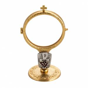 Shrine for Magna Host in gold-plated brass with Chi-Rho and grapes s1